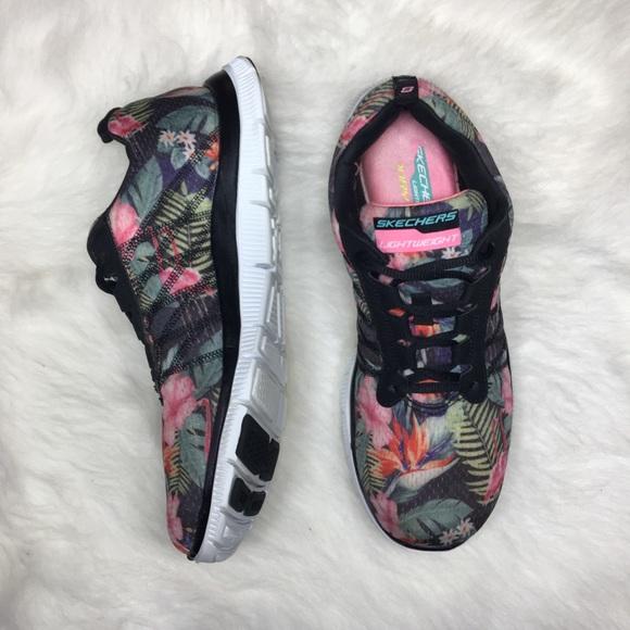 Women's Skechers pink Floral flamingo Sneakers